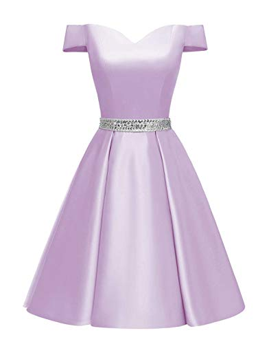 Changuan Women's Short Beaded Prom Dresses Off The Shoulder Backless Homecoming Dress Lavender-4