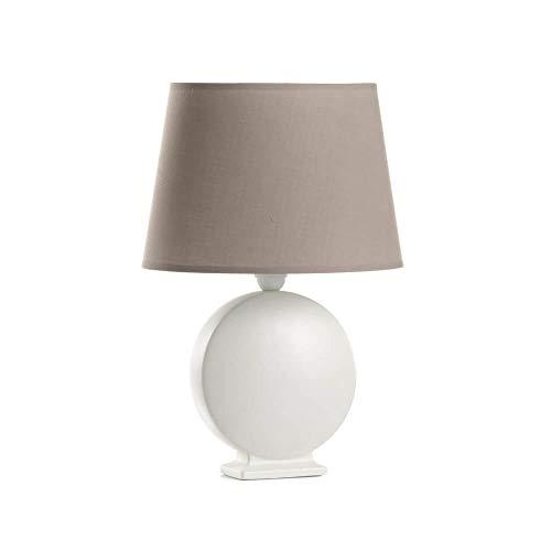 ONLI Lampada da Tavolo in Ceramica Paralume, Bianco, Tortora, Piccola