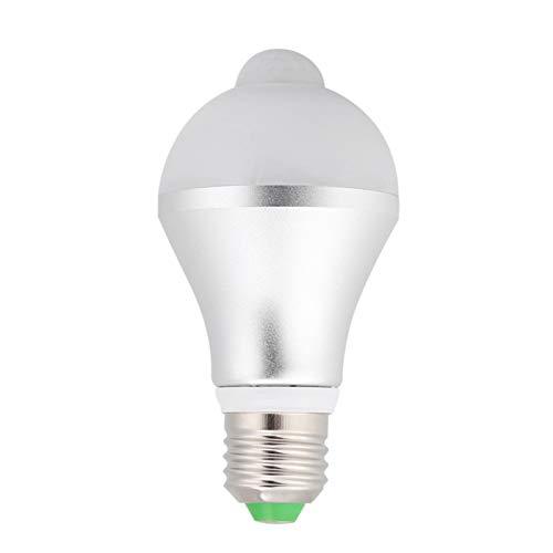 Haofy Motion Sensor Light Bulb, E27 Security LED Light Bulb, PIR Infrared Motion Bulbs for Front Door, Stairs, Porch, Garage, Basement, Hallway(White)