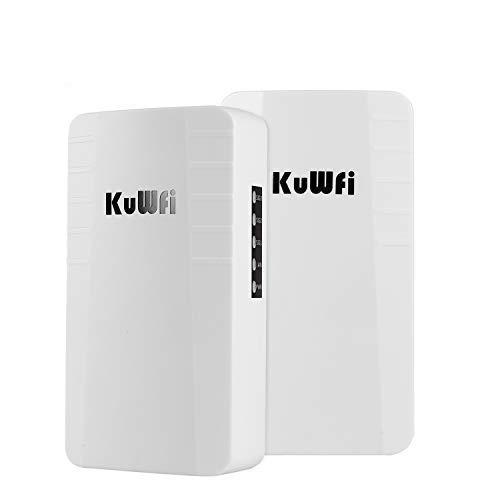 KuWFi Punto de Acceso Inalámbrico, 2-Pack 300Mbps inalámbrico al Aire Libre CPE Kit Punto a Punto Wireless Bridge con RJ45 para Monitoreo de Seguridad Al Aire Libre