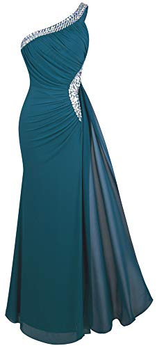 Angel-fashions Damen Eine Schulter Ruching Friesen Band Weich Abendkleid Large Dark Green