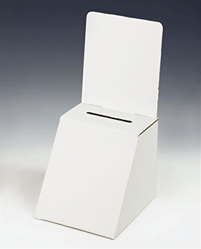 6 x 5 x 8-Inch, White Cardboard Ballot Box, with Removable Header, for Countertop Use