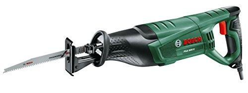Bosch PSA 900 E - Sierra sable de 900 W con cable, incluye una hoja para madera S 2345 X y una para madera y metal S 3456 XF, sistema SDS y empuñadura antivibraciones SoftGrip, en caja de cartón