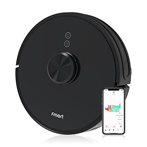 FMART Robot Aspirapolvere Lavapavimenti, Navigazione Laser, 2000 pa aspirapolvere robot, con serbatoio dell'acqua intelligente, per pavimenti duri e animali domestici, app, Alexa Google Home