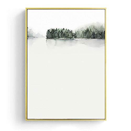 FXC - Lienzo decorativo para pared, diseño de hojas de acuarela, multicolor, 13x18cm No Frame