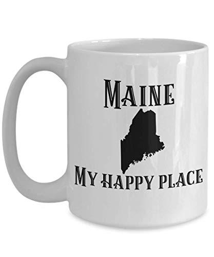 N\A Taza de café de Maine My Happy Place Gift State Pride Souvenir Taza Coleccionable