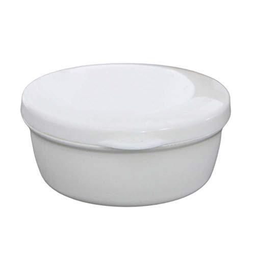 OUNONA Jabonera redonda de doble capa con tapa para cuarto de baño o viaje (color blanco)