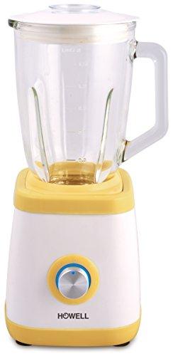 Howell HO.FM6011 Frullatore Professionale con Bicchiere in Vetro, Bianco/Giallo