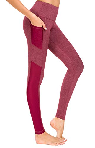 New Minc Mallas de deporte para mujer, con bolsillos, opacas, para entrenamiento, yoga, fitness, deporte y tiempo libre. Rojo vino. XL