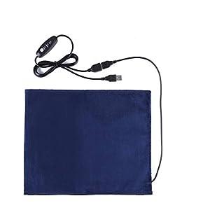 Queta USB Almohadilla Térmica para Mascotas, Seguridad 5V Fibra de Carbono, con Calor Rápido, Eléctrica de Fibra de Carbono, Calefacción Lumbar y Calentador para Mascotas 24 * 30CM (Azul Oscuro)