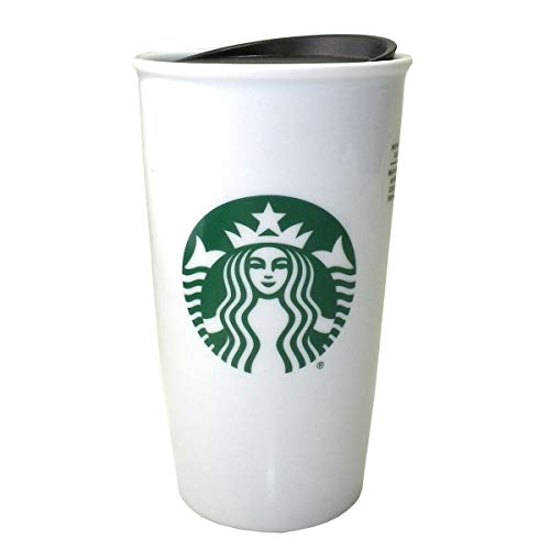 Starbucks Classic White and Green Coffee Traveler Tumbler Double Wall Ceramic Coffee Travel 12 oz