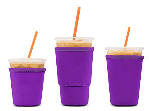 3 Pack Reusable Iced Coffee Sleeves - LOVAC Insulator Sleeve for Cold Beverages, Neoprene Cup Holder - Starbucks Coffee sleeve, McDonalds Coffee sleeve, Dunkin Coffee sleeve,More (Purple)