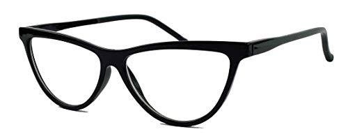 Ausgefallenes Cat Eye Brillengestell 50er 60er Jahre Vintage Stil Nerd Brille Klarglas Party Fasching Karneval CN22 (Schwarz)
