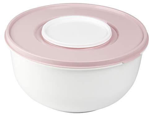 Zenker Rührschüssel 5 ltr. mit Deckel, Kunststoff, rosa/weiß, 28 cm