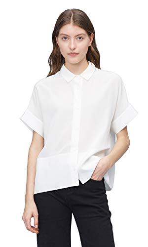 LilySilk Damen Seidenbluse Damenhemd Damenbluse T-Shirt Hemdbluse Kurzarm Sommer Bluse aus Seide Verpackung MEHRWEG Natur XS