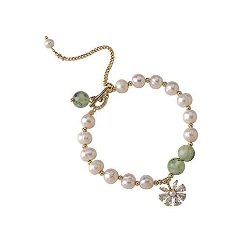 Pulsera de jade verde perla de agua dulce diseño de nicho pulsera de pulsera de flor de margarita de viento frío