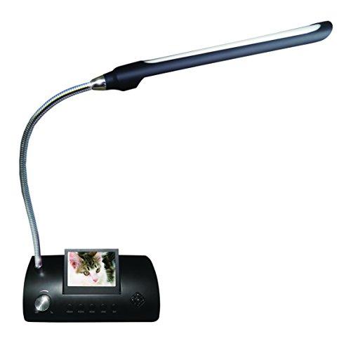Media Express LED VideoShow tafellamp/nachtkastje met 18 leds met digitaal frame, kaartlezer sleuf, SD-MMC-MS en USB-kabels, zwart
