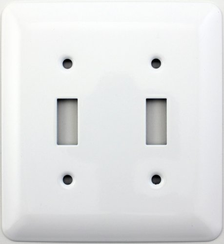 Mulberry Princess Style White Two Gang Toggle Switch Wall Plate