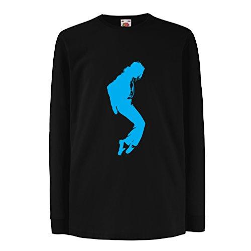 Kinder-T-Shirt mit Langen Ärmeln Ich Liebe MJ - Fanclub Kleidung, Konzert Kleidung (7-8 Years Schwarz Blau)