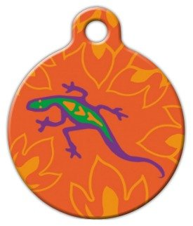 """Lupine Pattern """"Go Go Gecko"""" - Custom Pet ID Tag for Dogs and Cats - Dog Tag Art - SMALL SIZE"""