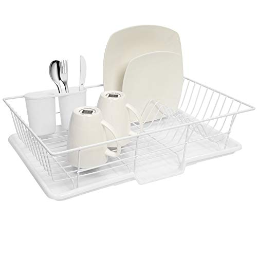 Sweet Home Collection 3 Piece Dish Drainer Rack Set with Drying Board and Utensil Holder, 12' x 19' x 5', White