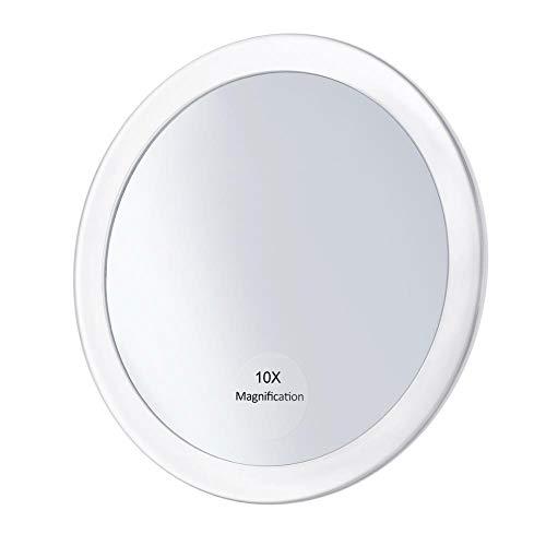 LASISZ 10X Miroir grossissant Rond Maquillage Miroir de vanité grossissant Poche Pliante Miroir cosmétique 3 ventouses 5,9 Pouces