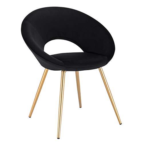 WOLTU® Esszimmerstuhl BH230sz-1 1 Stück Küchenstuhl Polsterstuhl Wohnzimmerstuhl Sessel, Sitzfläche aus Samt, Gold Metallbeine, Schwarz