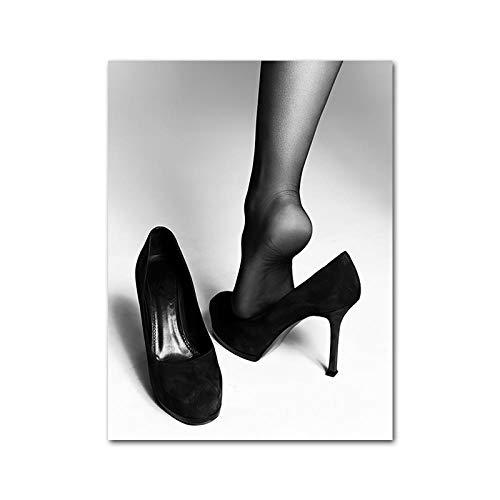 YWOHP Mujer en Blanco y Negro Impresión de Lienzo Pintura Bikini Tacones Altos Damas Moda Póster Sala de Estar Arte de la Pared Decoración Imagen-30x40cm_Unframed_Picture_1