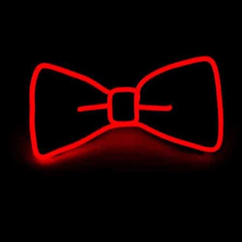 Glaray Luminoso Cravatta a Farfalla novità Regolabile El Wire LED Bowtie incandescente (Rosso)