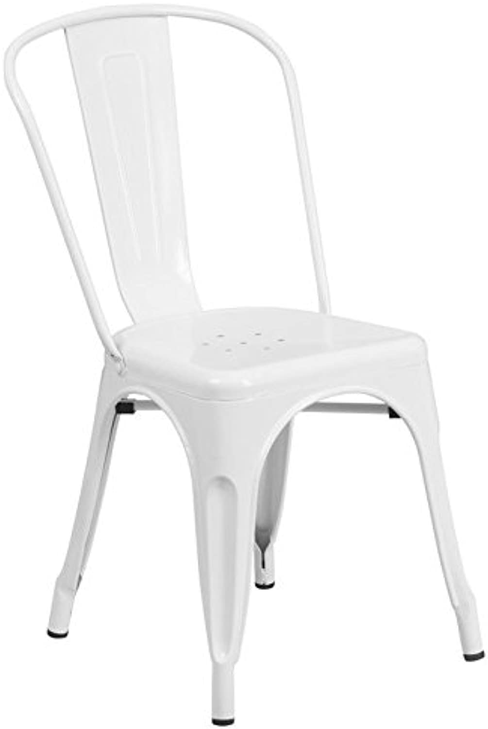 Bowery Hill Metal Stackable Dining Chair in White