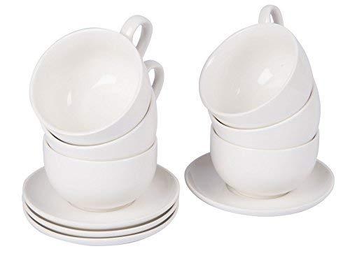 Cappuccino Tasse & Untertasse 200 ml - 6er Set weiß - Kaffee Becher Kaffeetasse
