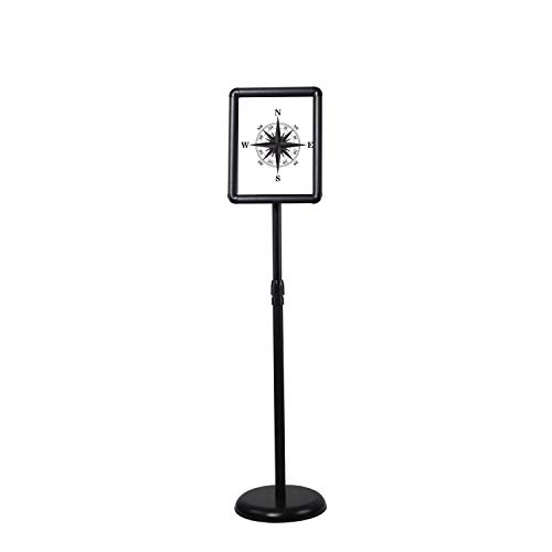 Floor Sign Stand Adjustable Pedestal Sign Holder Stand, Poster Stand Aluminum Snap Open Frame for 8.5X11 Inches with Heavy Round Base, Both Vertical and Horizontal Sign Displayed (8.5x11inches)