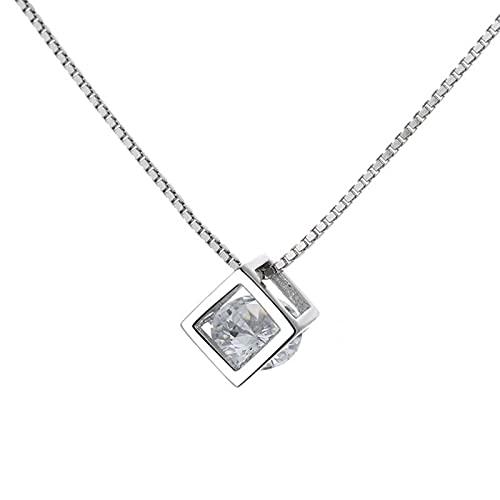 CLKE Collar de plata con circonita S925 para mujer con colgante de cristal para mujer, aniversario, cumpleaños, día de la madre, joyas con caja