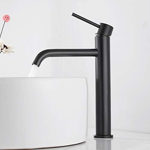 Grifo Lavabo Grifo Lavabo Alto Monomando Grifo para Baño en Acero Inoxidable para Agua Caliente y Fría (Negro)