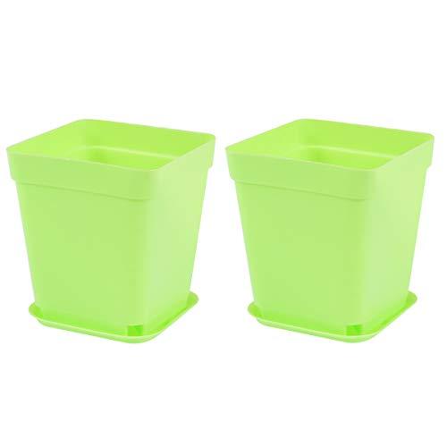Yardwe 12 Pezzi Vaso da Fiori in plastica Quadrato con piattino Mini vasi da plastica per Piante di plastica con piattino per Giardino 7,5 x 7,5 x 7,5 cm (Verde)