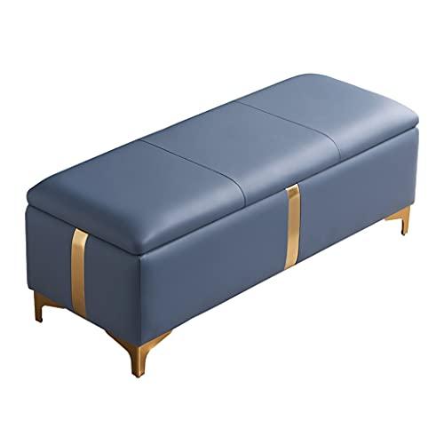 LYRZJJ Nórdico Dormitorio Heces De Cabecera Zaguán Banco De Cambio De Zapatos Taburete Simple Moderno del Sofá,Taburete de Almacenamiento Multifuncional para El Hogar (Azul Marino,100x45x42cm)