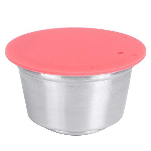 Solidny, wielokrotnego użytku kubek na kapsułki kawy wielokrotnego użytku wykonany ze stali nierdzewnej wykonany z silikonu z pokrywką z prasowanego proszku Pasuje do ekspresu do kawy Dolce Gusto 40 ml (3 #)