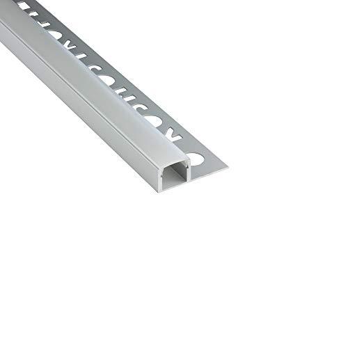 LED Aluprofil T77 silber 10mm Fliesenprofil + Abdeckung Abschlussleiste Bordüre Fliesen für LED-Streifen-Strip 2m opal