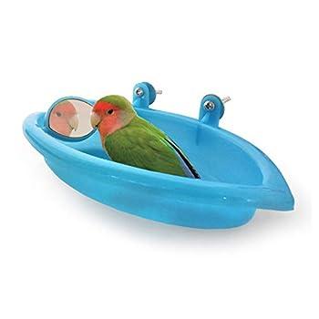 HPiano Oiseaux Baignoire pour Animaux de Bain Fournitures Douche Portable Petits Animaux en Plastique Bassin Parrot,Baignoire Bird Baignoire Bird Parrot Cabine de Douche Accessoires (Bleu)