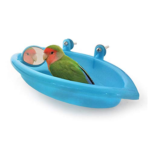 HPiano Vogelkäfig-Zubehör, Vogelspiegel-Badewanne, Duschbox,Vogel Badewanne Vogelkäfig Zubehör mit Vogelspiegel Dusche Kunststoff Badewanne für Vögel, Papageien, Wellensittiche