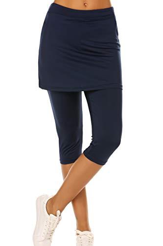 Ekouaer Capris Pants Tights Athletic Skorts Running Skirted Leggings for Women Navy Blue