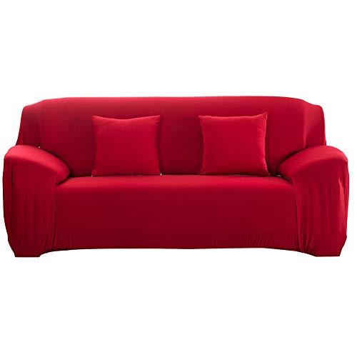 Funda de Sofá elástica Antideslizante Funda de Sofá Elástica de Tejido Extraíble Cubierta de sofá/Dos/Tres/Cuatro plazas Rojo(3 Seater :190-230cm)