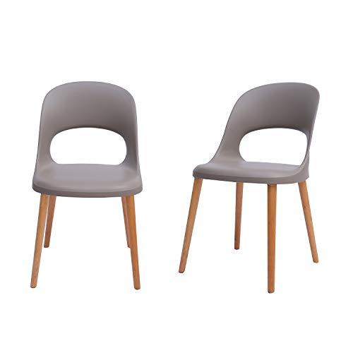 Amazon Brand - Rivet Henrik Modern Open-Back Plastic Dining Chair, Set of 2, 18.5'W, Mild Gray