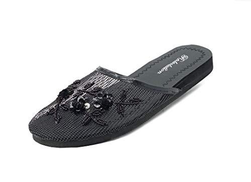 REDVOLUTION Women's Chinese Mesh Flip Fop Sandals Slipper (7, Black)