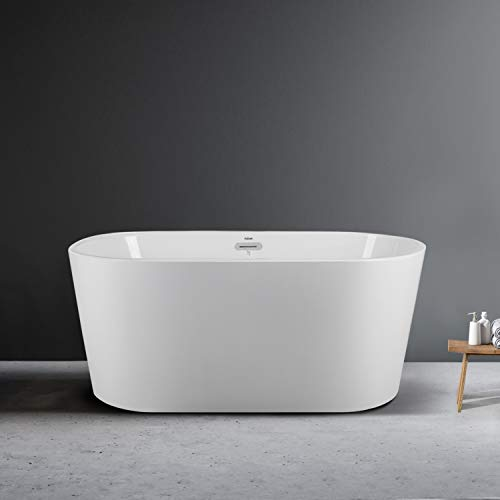 FerdY 55' Small Classic Oval Shape Freestanding Soaking Acrylic Bathtub, Modern White, cUPC Certified, Drain & Overflow Assembly Included