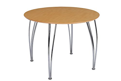 Novogratz Round Dining Table with Chrome Plated Legs, Brown