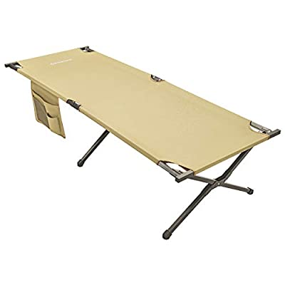 """KingCamp Camping Sleeping Cot Folding Bed 81"""" x 30"""" Extra Wide for Adults Heavy Duty Portable for Indoors & Outdoors Use, Beige, One Size (KC2011_Beige-USVC)"""