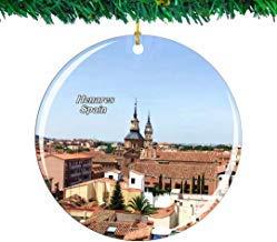 Kysd43Mill Palacio de Arzobispo de España Alcala de Henares Adornos de cerámica para árbol de Navidad Adornos para Mujeres y niñas Amigas