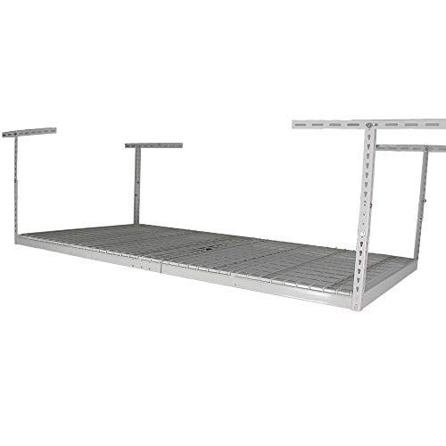"""SafeRacks - 4x8 Overhead Garage Storage Rack Heavy Duty - White - Adjustable from 24""""-45"""" - Ceiling Mounted"""