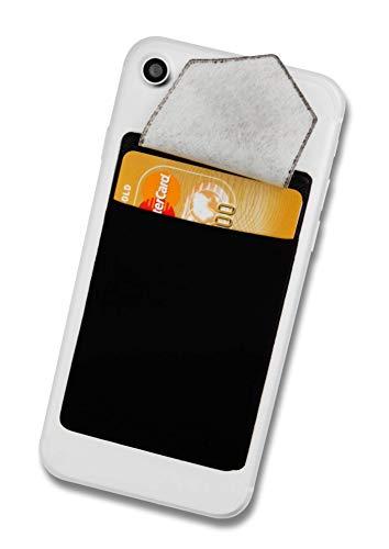 Cardsock - Wiederverwendbarer Handy Kartenhalter, Kartenfach, Kartenetui - Smartphone Wallet für Kreditkarten & Bargeld mit Verschluss in schwarz